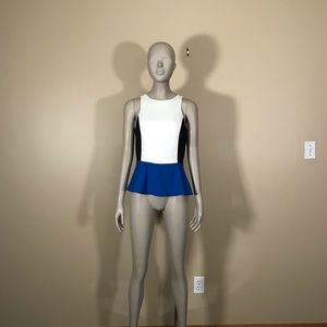 Express White Black and Blue Colorblock Peplum Top